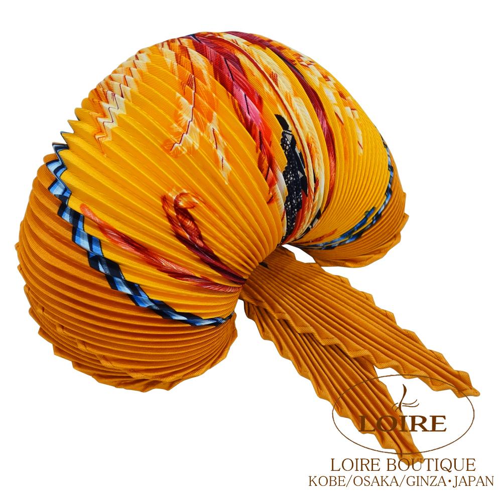 エルメス [HERMES] プリーツ・カレ [Plissee・Carre] シルク ブラジル オレンジ [ORANGE]