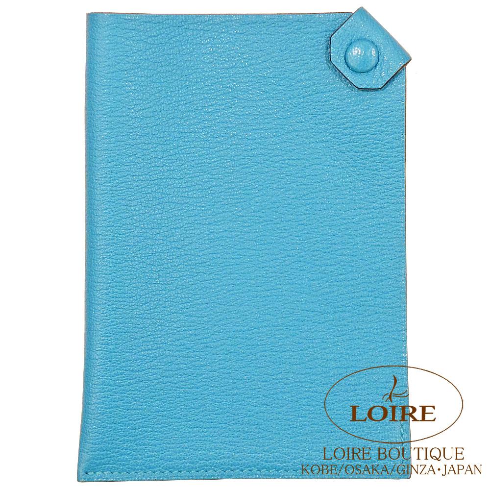エルメス [HERMES] タルマック PM [Tarmac] パスポートケース シェーブル ブルーアズティック [BLEU AZTEQUE(7M)] シルバー金具