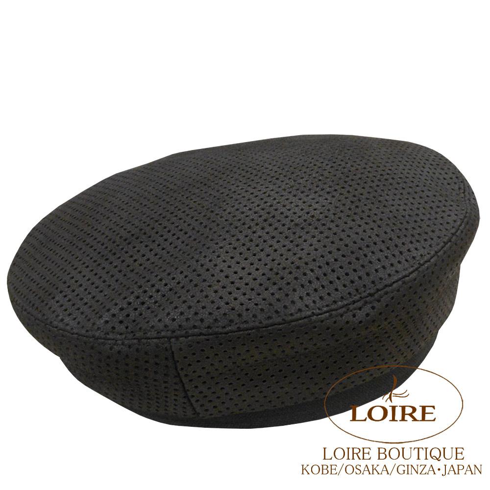 エルメス<br>ベレー帽<br>ラムスキン×リネン×コットン<br>クロ