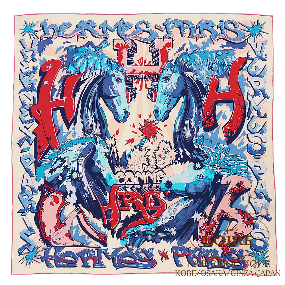 エルメス [HERMES] カレ 70 [Carre 70] シルク エルメスのH ローズ×ブルー×クリーム [ROSE/BLEU/CRÈME]