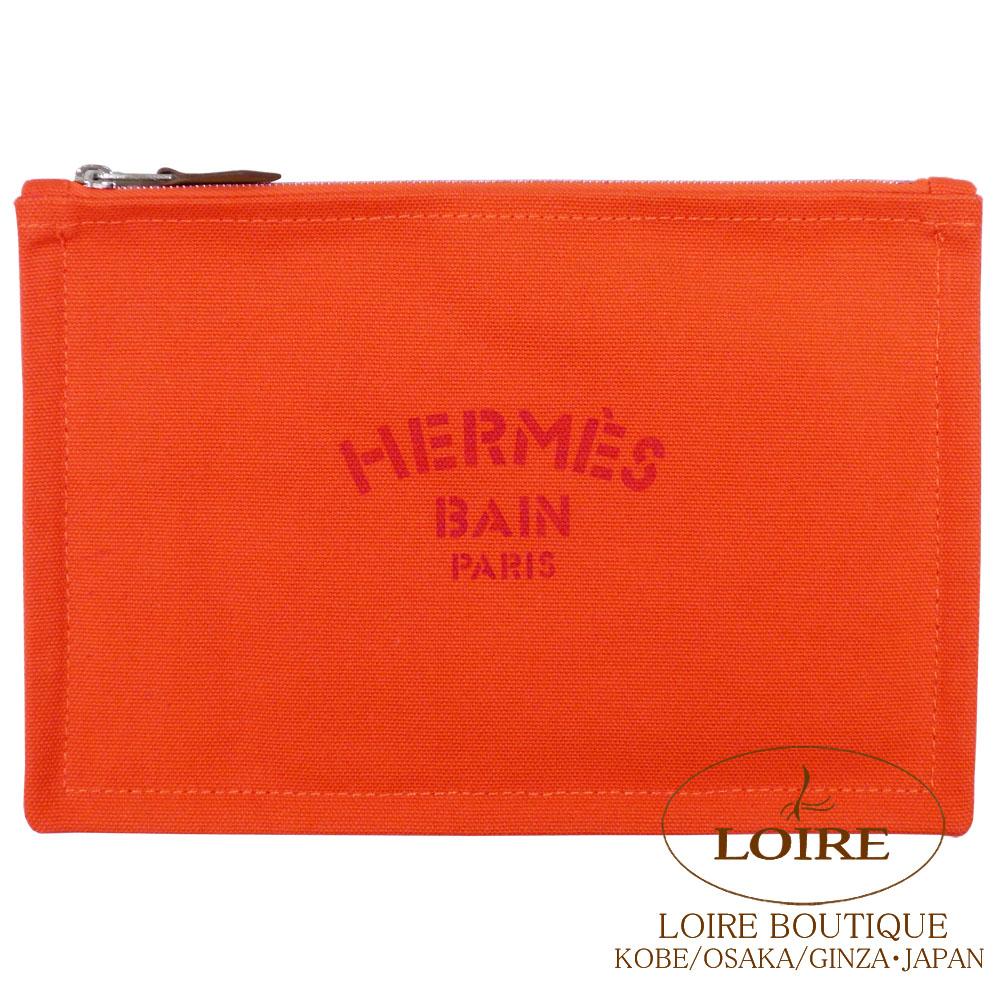 エルメス [HERMES] フラットポーチ PM キャンバス オレンジ [ORANGE(93)] シルバー金具