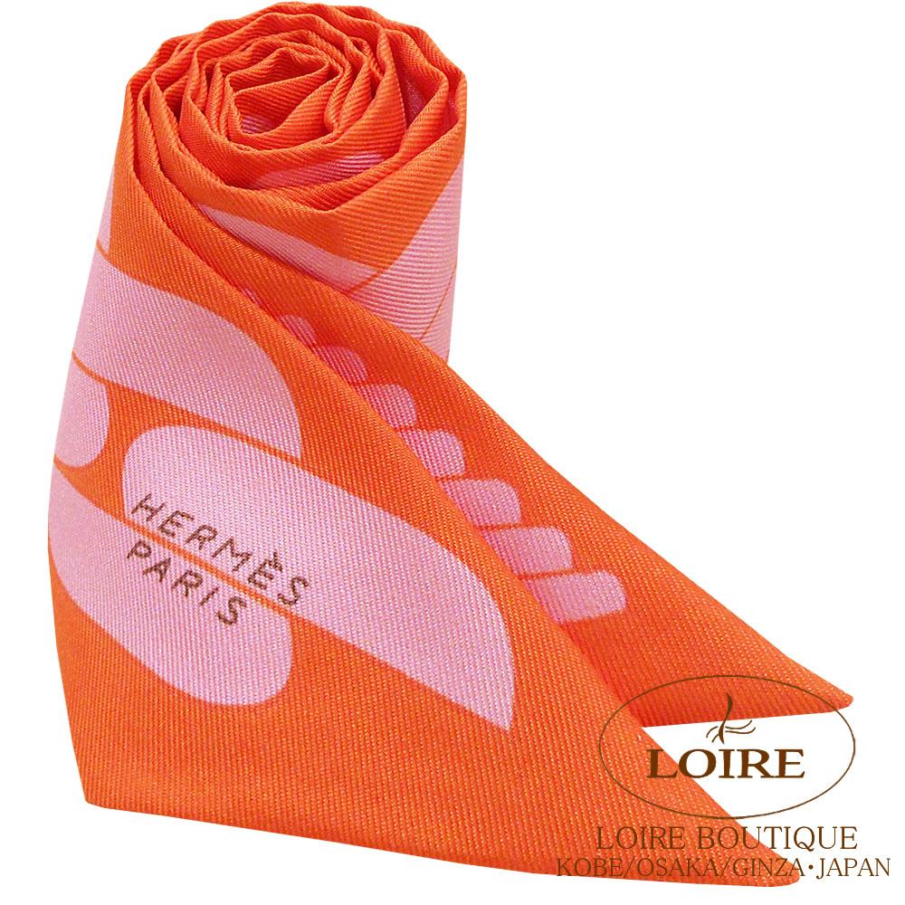 エルメス [HERMES] トゥイリー [TWILLY] シルク クリック・クエスト オレンジ×ローズプードル [ORANGE/ROSE POUDRE]