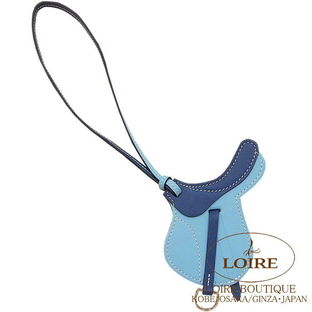 エルメス [HERMES] パドック [Paddock] チャーム 鞍 スイフト ブルーアトール×コルヴェール [BLUE ATOLL(3P)/CORVERT(1P)]