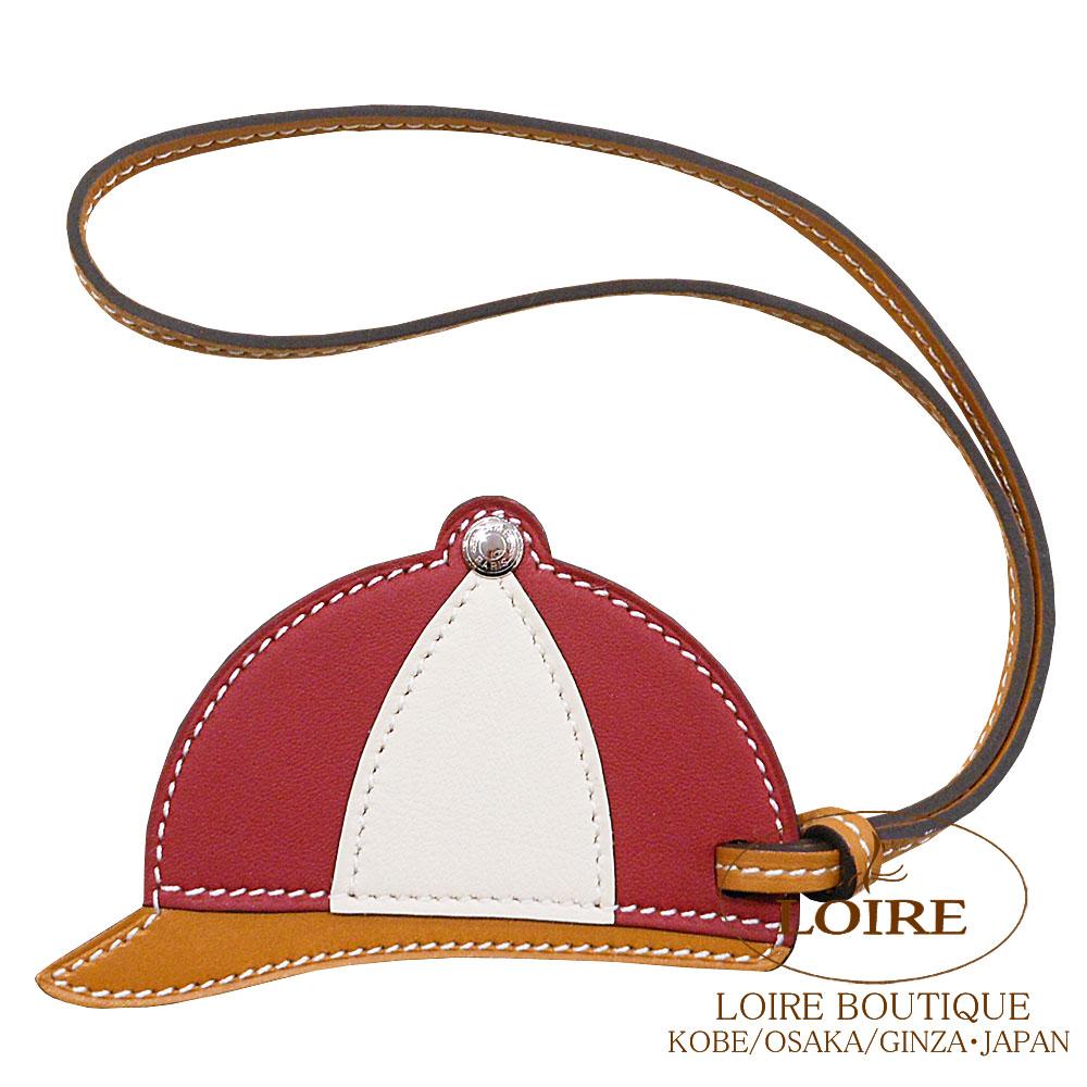 エルメス [HERMES] パドック [Paddock] チャーム 帽子 スイフト ルージュグレナ×クレ×ナチュラルブトンドール [ROUGE GRENAT(K1)/CRAIE(10)/NATUREL BOUTON DOR]  シルバー金具