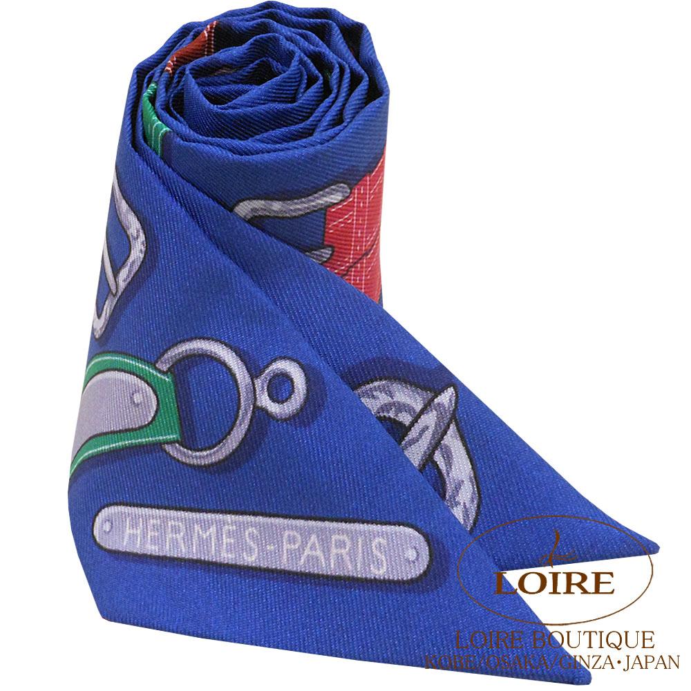 エルメス [HERMES] トゥイリー [TWILLY] シルク 大統領の馬具 ブルー×ヴェール×オレンジ [BLEU/VERT/ORANGE]