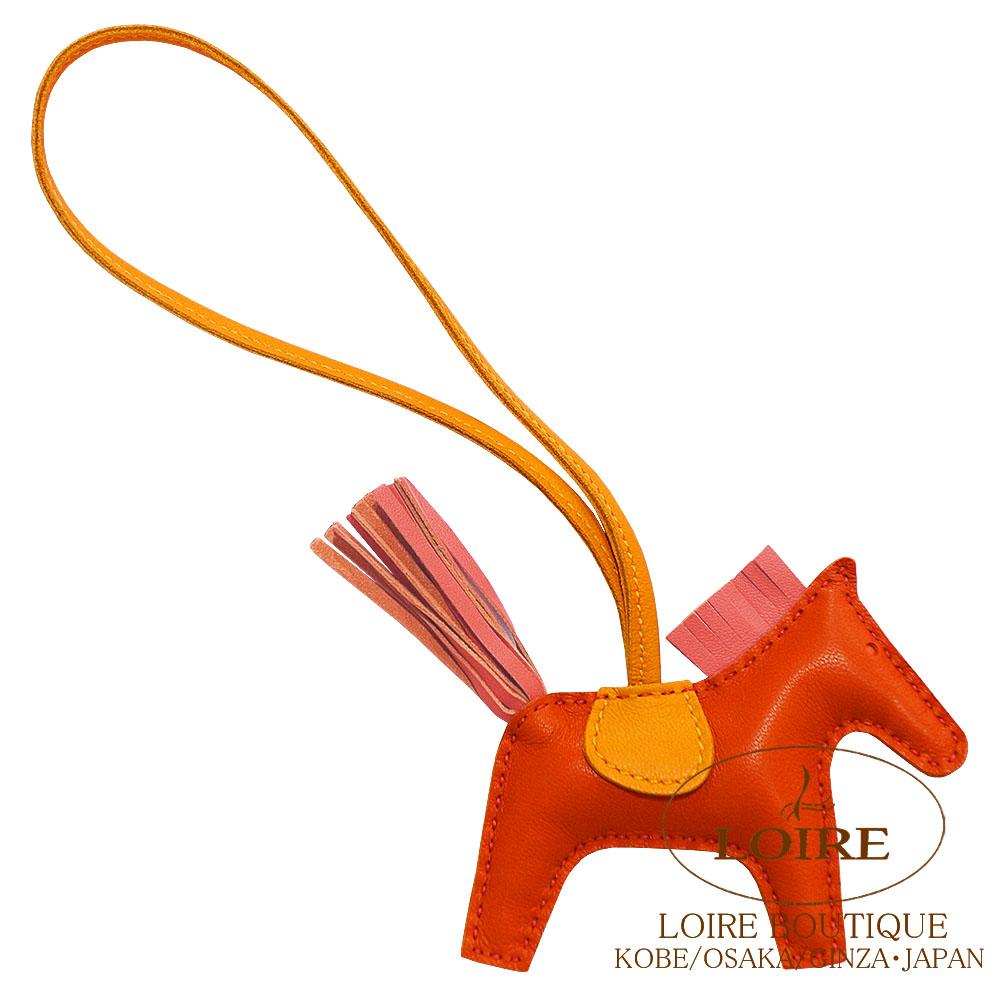 エルメス [HERMES] チャーム ロデオ PM [GRIGRI RODEO] アニオン×コットン ルージュインディアン×ローズジャイプール×フュー [ORANGE POPPY(8V)×ROSE AZALEE(8W)×BLEU]