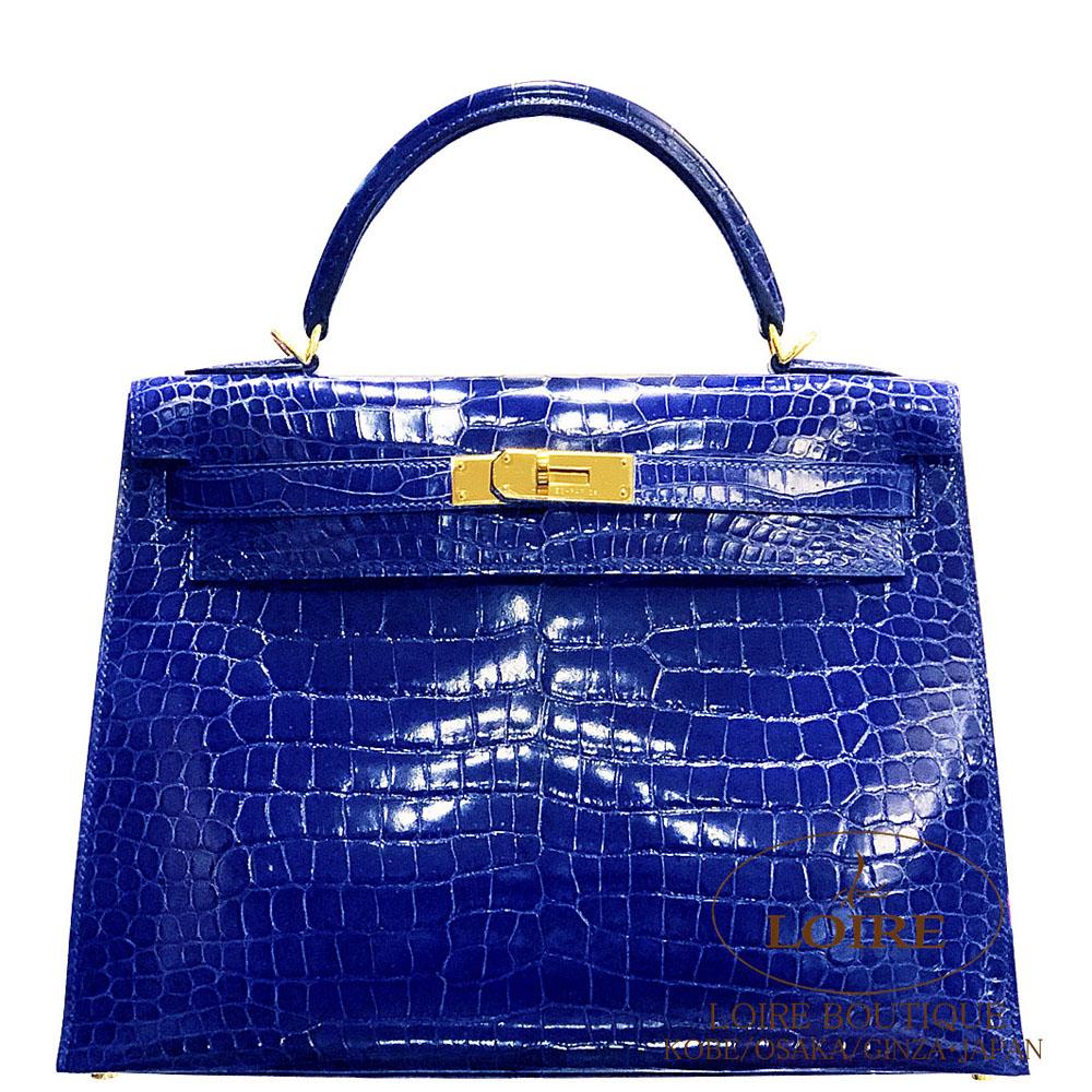 エルメス<br>ケリー 32cm<br>外縫<br>クロコダイル ポロサス<br>ブルーエレクトリック<br>ゴールド金具