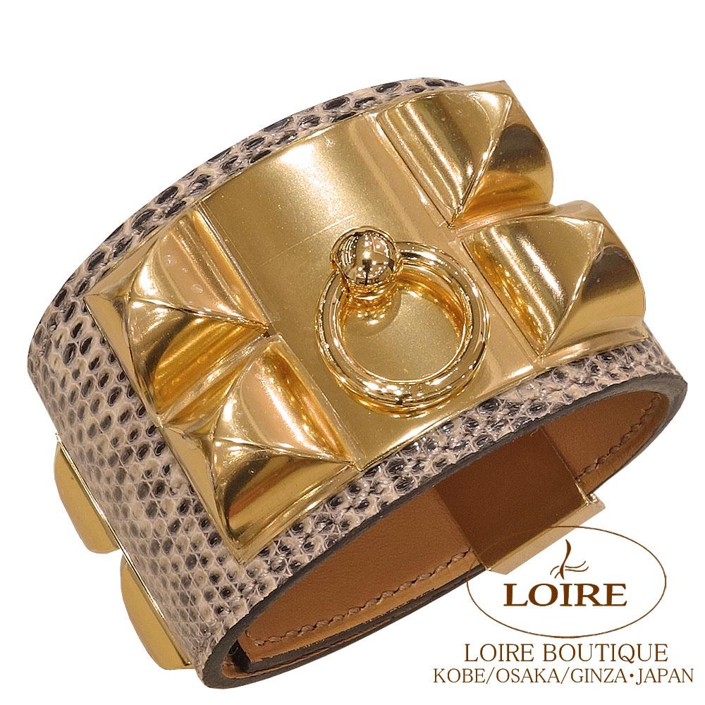 エルメス<br>コリエ・ド・シアン ブレスレット<br>リザードナチュラ<br>オンブレ<br>ゴールド金具