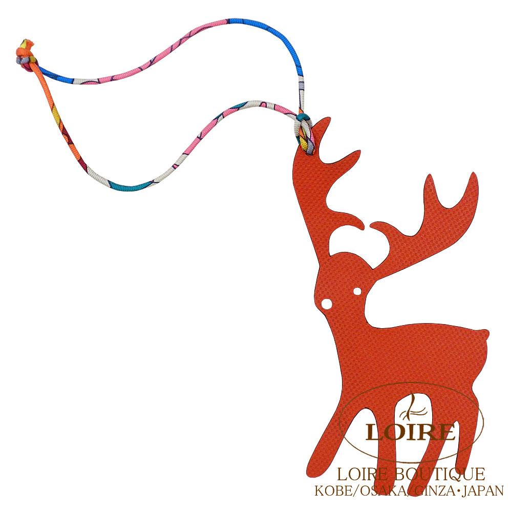 エルメス [HERMES] petit h [プティ アッシュ] チャーム トナカイ ヴォー・グランアッシュ×クレマンス サンギンヌ×ルージュアッシュ [SANGUINE(9M)/ROUGE H(55)]