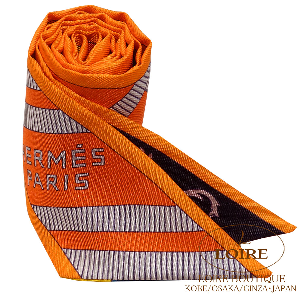 エルメス[HERMES]  トゥイリー[TWILLY]  シルク  BALADE EN BERLINE オレンジ×クロ×ジョンヌドール  [ORANGE×NOIR×JAUNE D OR]