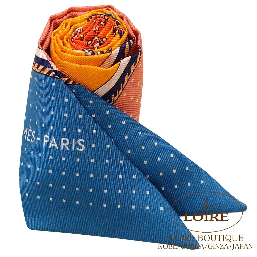 エルメス<br>トゥイリー<br>シルク<br>折り畳み式ほろの馬車<br>ブルー×サーモンピンク×オレンジ