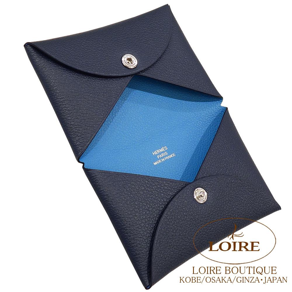 エルメス<br>カルヴィ ヴェルソ<br>カードケース<br>ヴォー・エヴァーカラー<br>ブルーオーシャン×ブルーパラダイス<br>シルバー金具