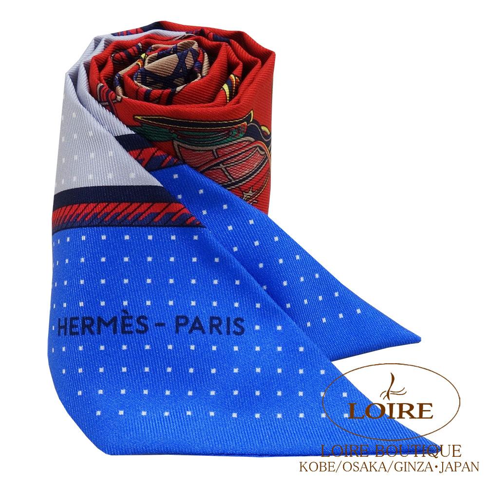 エルメス [HERMES] トゥイリー [TWILLY] シルク 折り畳み式ほろの馬車 ルージュ×ブルー×グリ [ROUGE/BLUE/GRIS]