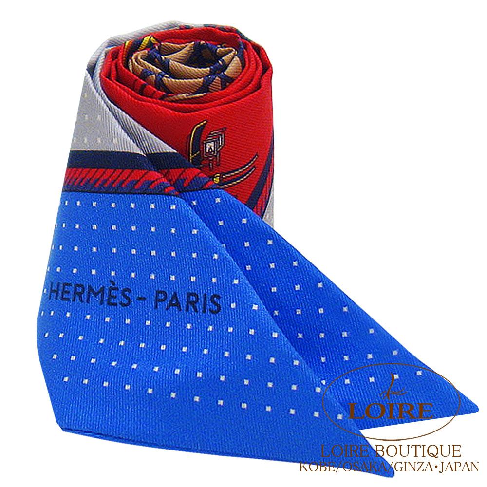 エルメス<br>トゥイリー <br>シルク<br>折り畳み式ほろの馬車<br>ルージュ×ブルー×グリ