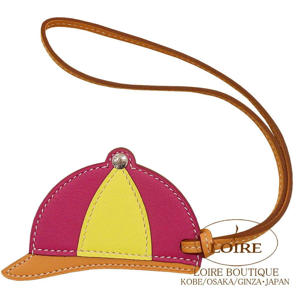 エルメス [HERMES] パドック [Paddock Bombe] チャーム 帽子 スイフト ローズパープル×ライム×ナチュラルブトンドール [ROSE POURPRE(L3)/LIME(9R)/NATUREL BOUTON DOR]  シルバー金具