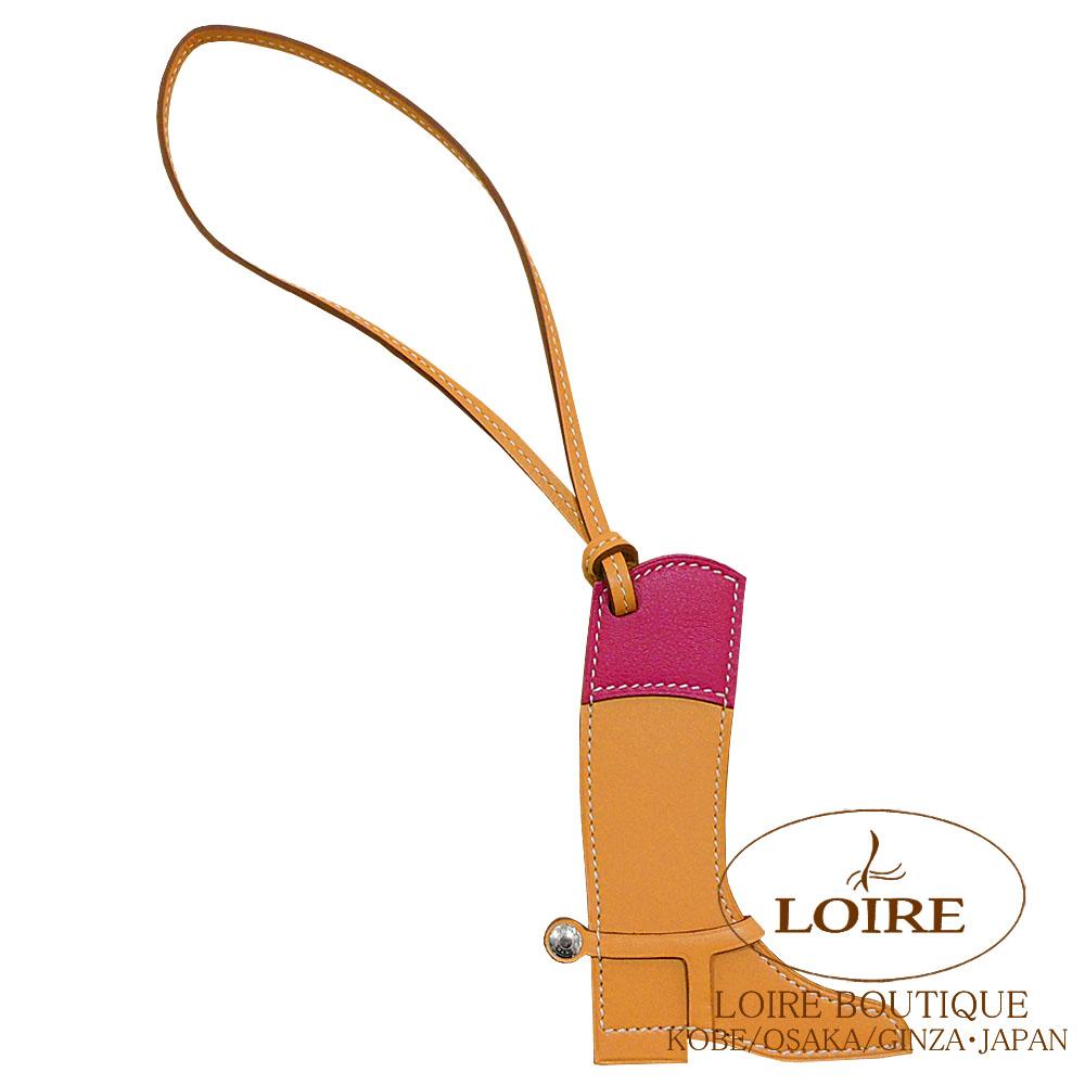 エルメス [HERMES] パドック [Paddock] チャーム ブーツ バトラー×スイフト ナチュラルサブル×ローズパープル [NATUREL SABLE(21)/ROSE POURPRE(L3)] シルバー金具