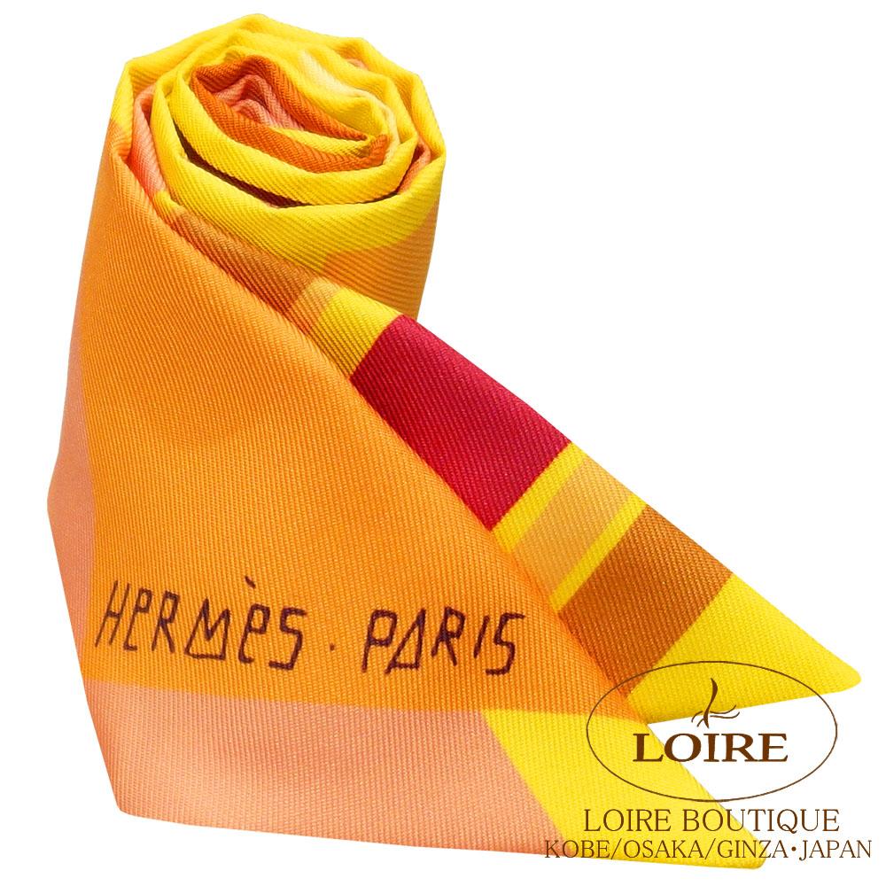 エルメス<br>トゥイリー <br>シルク<br>海とサーフとファン<br>オレンジ×ジョーヌ×キャメル