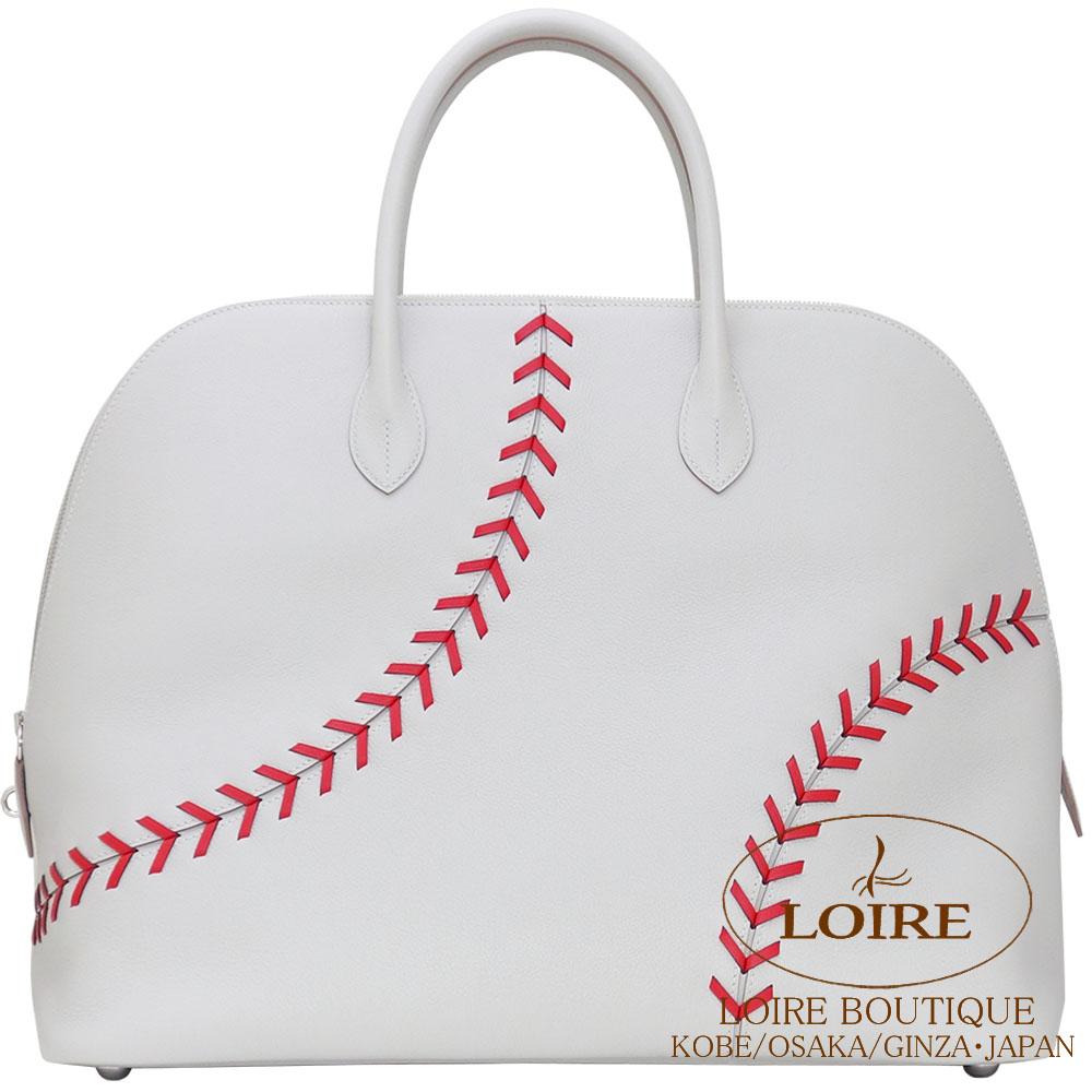エルメス [HERMES] ボリード 1923 ベースボール 45cm [Bolide 1923 Baseball 45cm] ヴォー・エヴァーカラー グリペール×ルージュカザック  [GRIS PERLE(80)/ROUGE CASAQUE(Q5)] シルバー金具