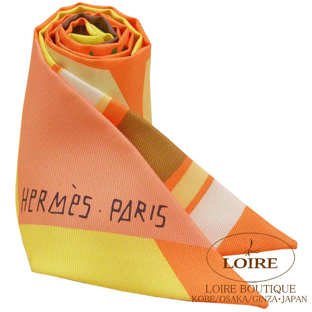 エルメス [HERMES] トゥイリー [TWILLY] シルク 海とサーフとファン ヴェール×オレンジ×ジョーヌ[VERT/ORANGE/JAUNE]