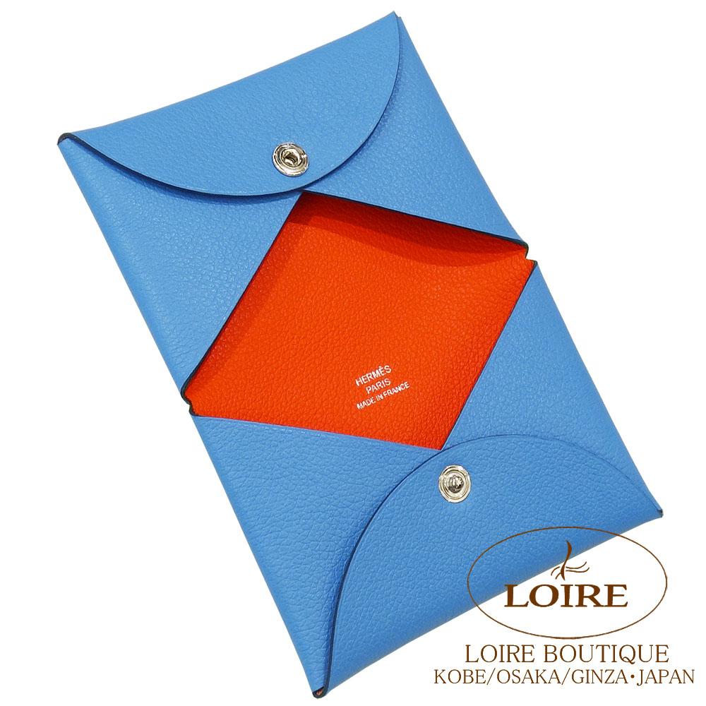 エルメス<br>カルヴィ ヴェルソ<br>カードケース<br>ヴォー・エヴァーカラー<br>ブルーパラダイス×オレンジポピー<br>シルバー金具