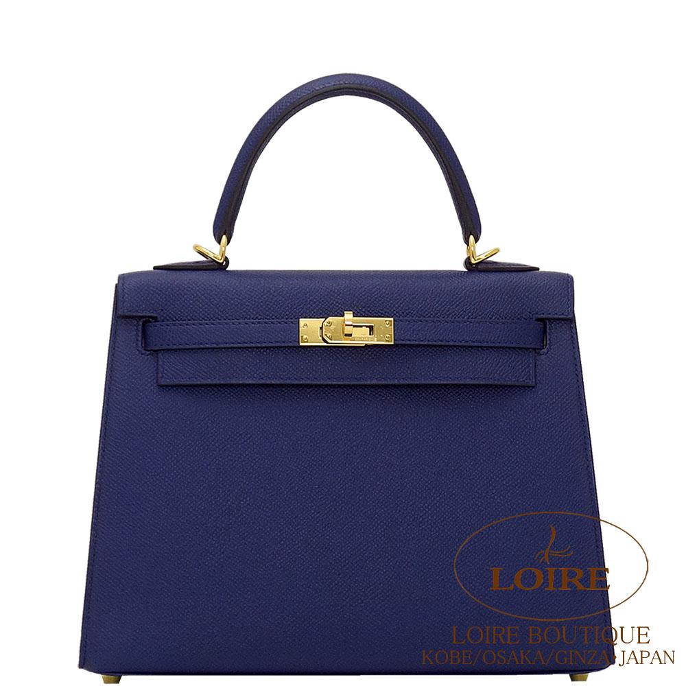 エルメス [HERMES] ケリー 25cm [Kelly 25cm] 外縫 エプソン ブルーアンクル [BLEU ENCRE(M3)] ゴールド金具