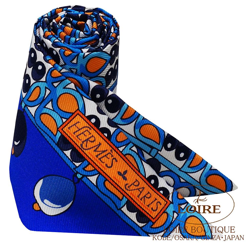 エルメス [HERMES] トゥイリー [TWILLY] シルク マハラジャの装身具 ブルーロイ×オレンジ×ターコイズ [BLEU ROY/ORANGE/TURQUOISE]