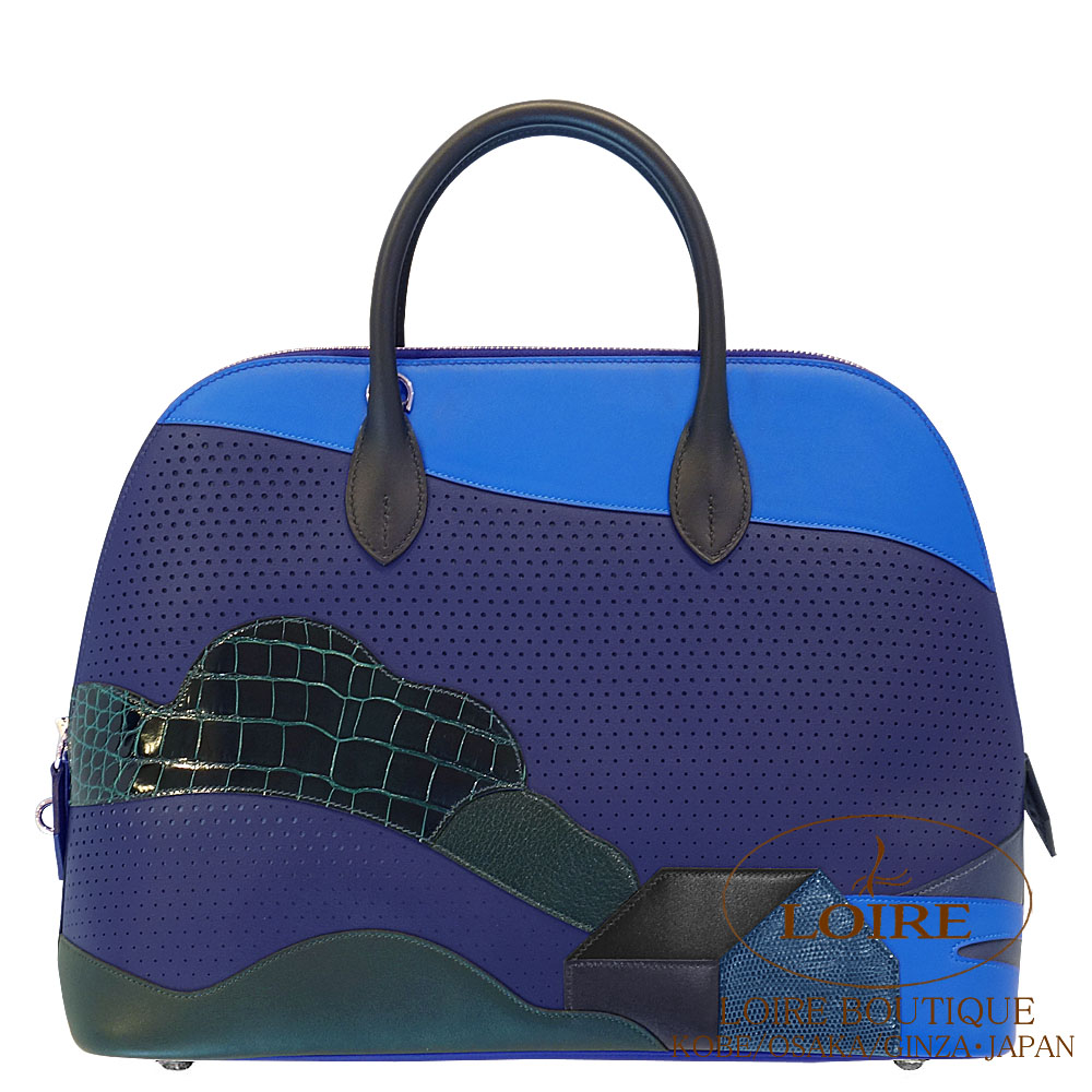 エルメス [HERMES] ボリード 1923 35cm [Bolide1923 35cm] スイフト×アリゲーター×リザード ブルーアンクル×ブルーゼリージュ×ブルーニュイ [BLEU ENCRE(M3)/BLEU ZELLIGE(I7)/BLUE NUIT(2Z)] シルバー金具