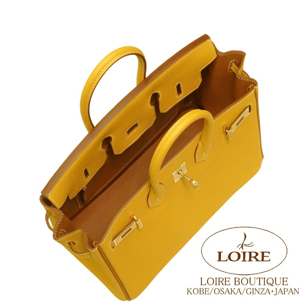 エルメス [HERMES] バーキン 25cm [Birkin 25cm] パーソナルオーダー トゴ ジョーヌアンブル×ゴールド [JAUNE AMBRE(9D)/GOLD(37)] (シロステッチ) シャンパンゴールド金具