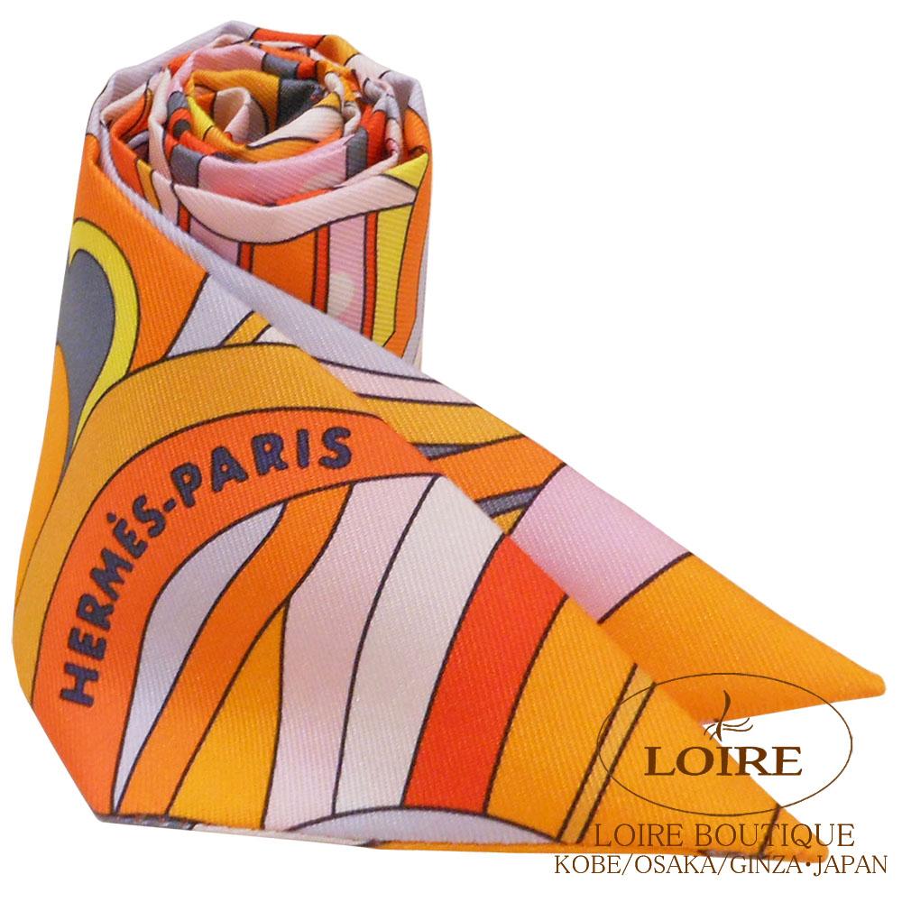 エルメス<br>トゥイリー<br>シルク<br>フォーブル・レインボー<br>オレンジ×ピンク×グレー