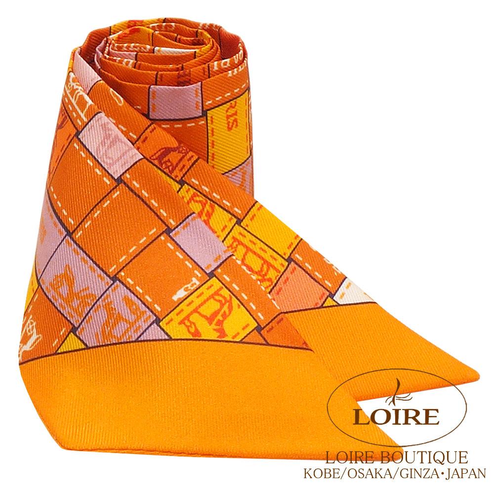エルメス<br>トゥイリー<br>シルク<br>ボルデュック・カレ<br>オレンジ×シロ×ヴィユローズ