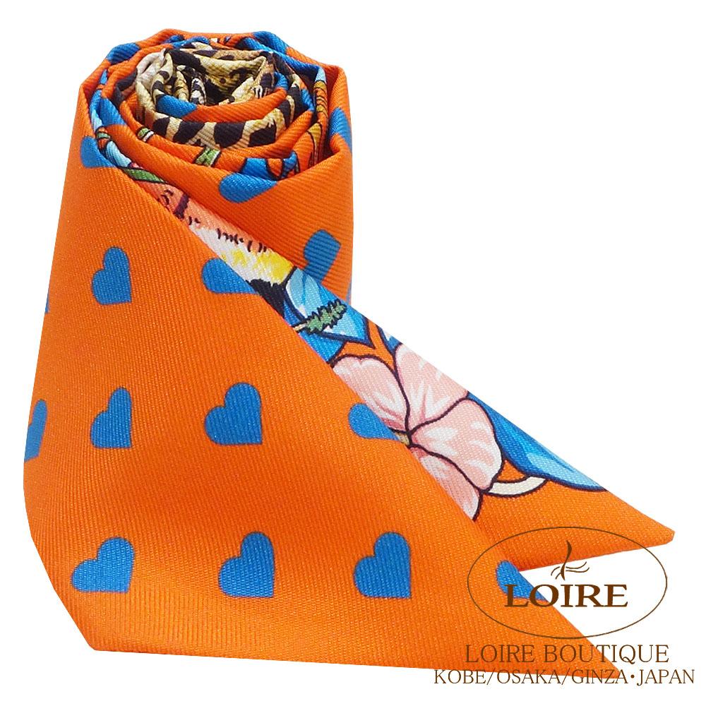 エルメス<br>トゥイリー<br>シルク<br>JUNGLE LOVE LOVE<br>オレンジ×ブルー×ブラン